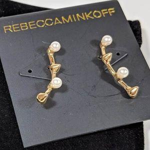Rebecca Minkoff Cone Pearl Climber Earrings